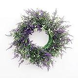 Artificial Lavender Wreath Garland,Purple Silk Flowers Garland Floriation Hanging Pendant background for Front Door, Wall, Home, Wedding Window Decoration- Lavender White Mix Purple