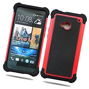 Fabcov Packing Red Black Anti-slip Tough Dual Layer Hard Cover Case for HTC One M7