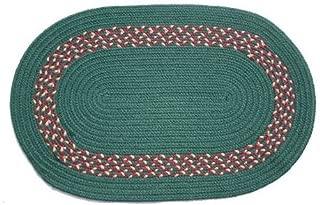 product image for Oval Braided Rug (3'x5'): Dark Green,- Dark Green, Burgundy & Camel Band