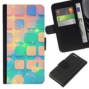 KingStore / Leather Etui en cuir / Apple Iphone 5C / Teal Espacio melocotón Estrellas Universo Patrón