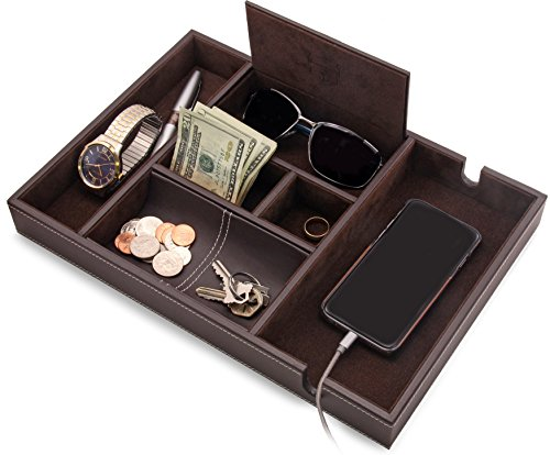 "HOUNDSBAY""Victory"" Valet Tray for Men with Large Smartphone Charging Station (Dark Brown)"