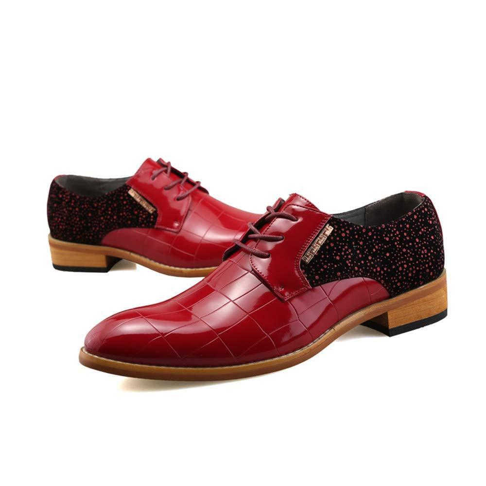 Apragaz Herren Party Hochzeit Schuhe aus echtem Leder Oxfords Lace Up Schuhe Color : Rot, Gr/ö/ße : 41 EU