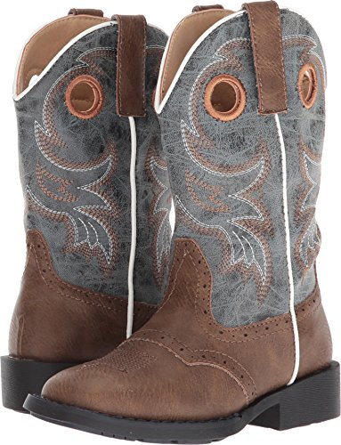 Roper Boys' Daniel Distressed Saddle Vamp Cowboy Boot Square Toe Brown 9 D (Kids Saddle Roper)