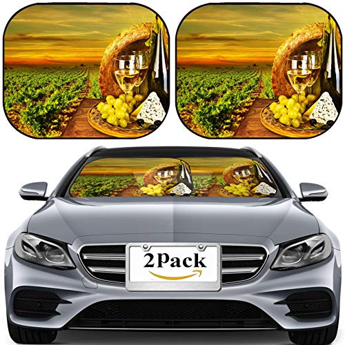 (MSD Car Sun Shade for Windshield Universal Fit 2 Pack Sunshade, Block Sun Glare, UV and Heat, Protect Car Interior, Wine and Cheese Romantic Dinner Outdoor Table for Two with Vineyard View fres)