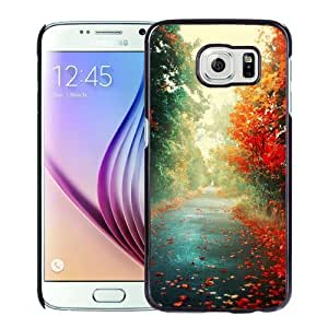 NEW Unique Custom Designed Samsung Galaxy S6 Phone Case With Red Trees Autumn Path_Black Phone Case