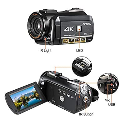 Ordro AC3 4K Camcorder Ultra HD Video Camera(1080P 60FPS,30X Digital Zoom, 3.1 Inch IPS Touch Screen,Infrared Night Vision,Microphone,Wide Lens, Lens Hood)- Black