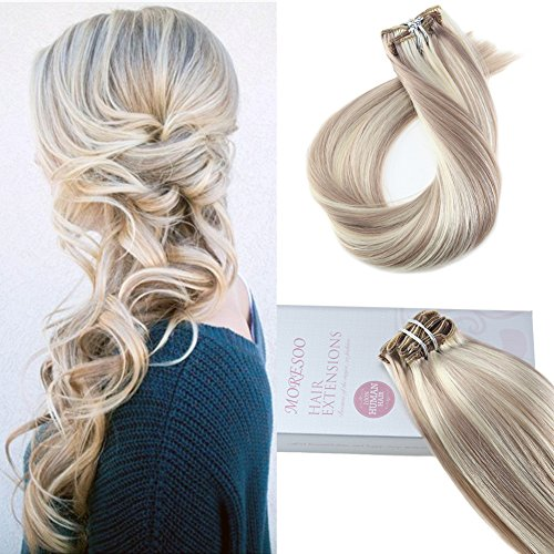 Moresoo Clip on Hair Extensions Human Hair 16 Inch Ash Blonde Highlights with Bleach Blonde Real Hair Extensions Clip in 7Pcs/Set Sew in Weft Real Human Hair Extensions