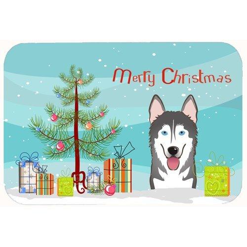 Alaskan Tree - The Holiday Aisle Christmas Tree and Alaskan Malamute Kitchen/Bath Mat