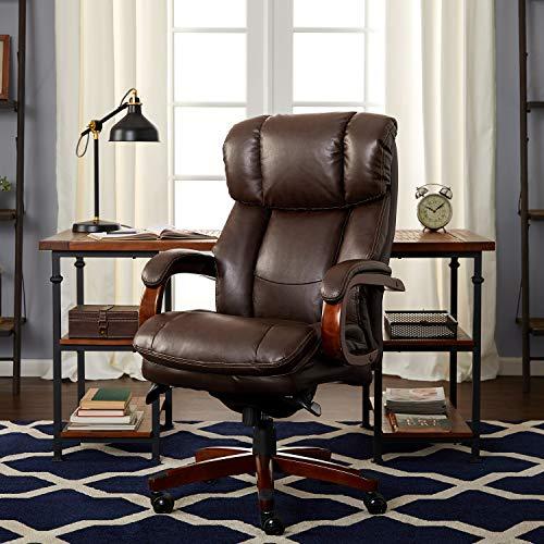 La-Z-Boy Fairmont Big & Tall Executive Bonded Leather Office Chair - Biscuit (Brown) (Z Boy Sales La)