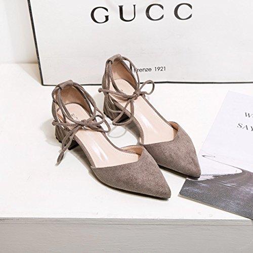 profonde satiné Printemps Chaussures avec sauvages la peu pointe Bouche 37 Chaussures du 豆 Rugueuses Gris creux Bouche Unique lumière d1pRq