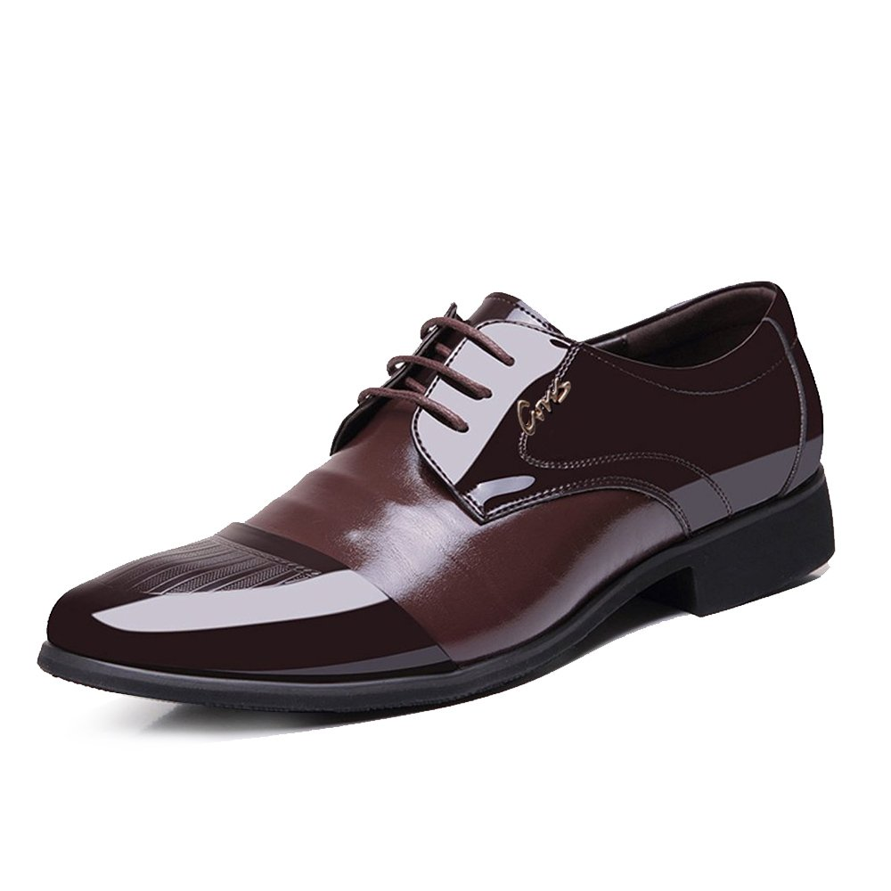 Blivener Men's Tuxedo Oxfords Lace up Dress Shoes Pointed Toe Brown US12