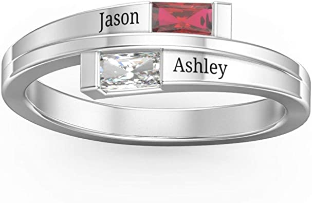 Promise Ring Couple Mothers Ring 2 Birthstone Anniversary Ring for Her Mom Ring Mothers Ring 2 Stone 2 Name Engraved Sterling Silver