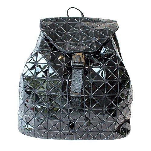 Rucksack schwarz Lack Statement Style-Trendtasche Lackoptik modisch