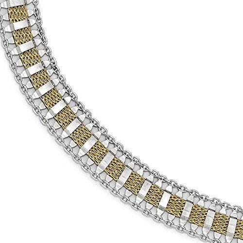 En argent sterling 925Doré Poli et texturé Fancy-Bracelet Femme-20cm