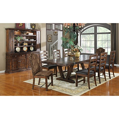 (Emerald Home Castlegate Pine Brown Dining Table with Self Storing Extension Leaves, Plank Style Top, And Turnbuckle Bracing)