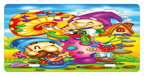 Kids License Plate by Ambesonne, Cartoon Style Singing Elves with Mushroom Playing Flute Musical Cheerful Illustration, High Gloss Aluminum Novelty Plate, 5.88 L X 11.88 W Inches, (Cartoon Flute)