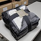 Sherpa Flannel Plush Quilted Blanket -Luxurious Large Warm Thick (King, Grey)