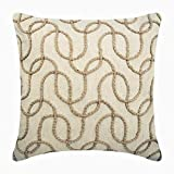 "Designer Ecru Shams, Jute Lattice Trellis Pillow Shams, 24""x24"" Pillow Sham, Square Cotton Linen Shams, Contemporary Pillow Shams - Jute Shoot"