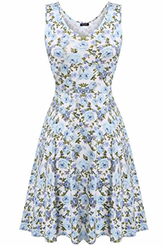ACEVOG Women Summer Casual Sleeveless Floral Mini Party Cocktail Dress,Lake Blue,Medium