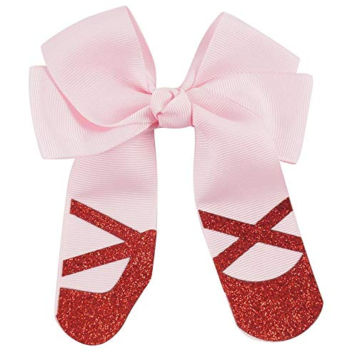 2Pcs/lot Boutique PInk color Grosgrain Cheer Bow Handmade Hair Bows With Clip School Girls Dance Party Hair Accessories ()