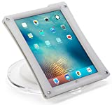 Displays2go iPad Pro Countertop Stand, Steel, Plastic & Acrylic Construction – Clear Base, White Surround (POSIPDTBWP)
