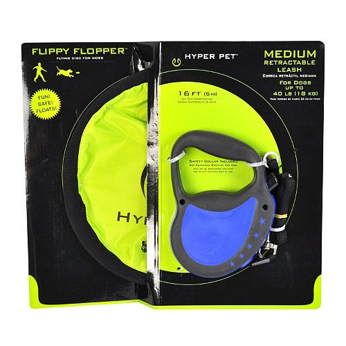 "Hyper Pet - Dog Retractable Belt Leash and 9"" Flippy Flopper"