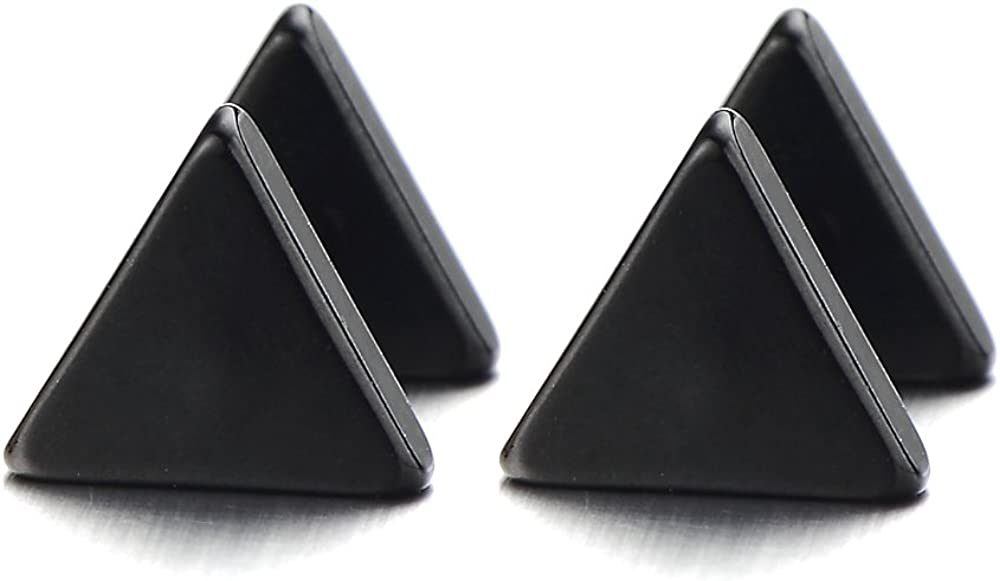 Unisex Stainless Steel Black Triangle Screw Stud Earrings for Man and Women, 2pcs
