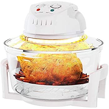 COSTWAY Infrared Halogen Convection Oven with Stainless Steel Extender Ring, 12.68-18 Quart, 1300W, Cooker Glass Bowl Healthy Low Fat Cooking, White