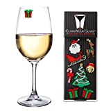 CHRISTMAS CHEER Magnetic Wine Glass Charms (Set of 8) by Claim Your Glass - Premium Drink Markers for Wine, Champagne, Beer, Cocktail Glasses - Includes Storage Case + Spare Magnet