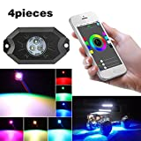 neon car lights exterior - KOYA Multi-Color CREE RGB LED Rock Light Kits with Bluetooth Controller ,Timing Function, Music Mode for Cars Truck Exterior 4 Wheeler ATV SUV Jeep Mine Boat Motorcycle Waterproof Neon LED Light