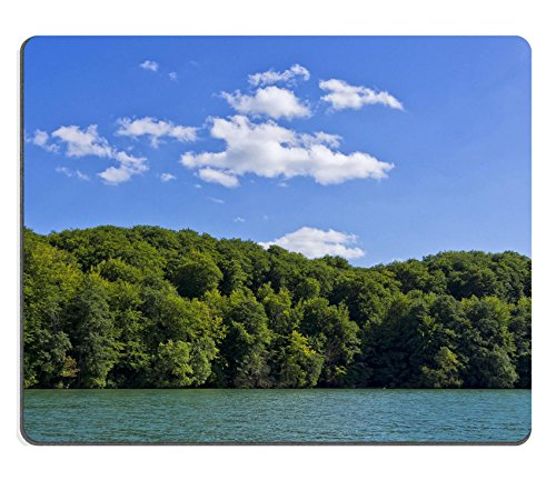 Liili Mouse Pad Natural Rubber Mousepad IMAGE ID: 15088601 Beautiful wooded lakeside under blue and cloudy - Shipping Free Lakeside