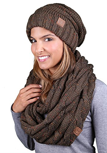 - bHS-6100-2033 Oversized Beanie Matching Scarf Winter Set Bundle - Olive Confetti