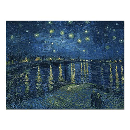 Wieco Art Starry Night Over The Rhone by Van Gogh Classical Oil Paintings Reproduction Large Modern Stretched and Framed Canvas Print Wall Art Seascape Pictures Giclee Artwork for Home Office ()