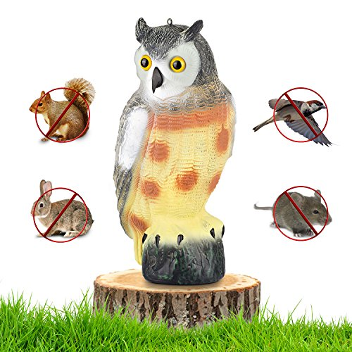 "briteNway Large Scarecrow Owl Decoy Statue Realistic Fake Owl Outdoor Pest & Bird Deterrent, Hand-Painted Garden Protector, Scares Away Squirrels, Pigeons, Rabbits & More – 16,5"" Hollow ()"