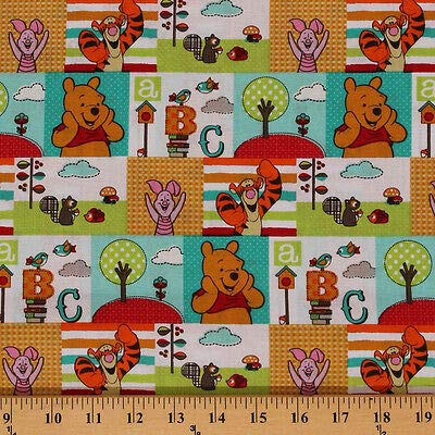 Cotton Character Patch Winnie The Pooh Tigger Piglet ABCs Cartoon Cotton Fabric Print by The Yard (D473.06)