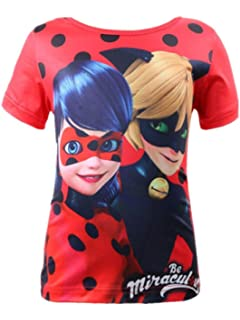 Girls Ladybug Cotton T-shirts Princess Casual Short Sleeve Tee Top Tshirt