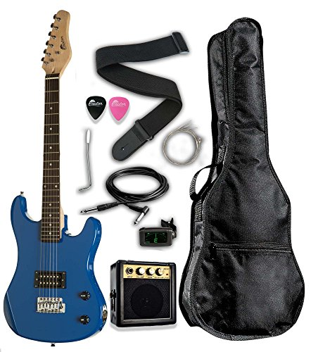 Raptor EP36-BU 3/4 Scale Kids Child Starter Electric Guitar Pack EP36 with 3W Amp, Digital Tuner, Gig Bag, Strap, Cable, Replacement Strings, Whammy Bar, Picks, Blue