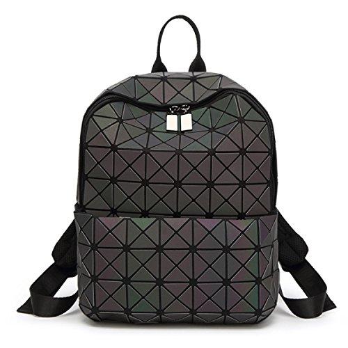 Geométrica Ling Grid Luminoso Bolsa De Hombro Bolso De Látex Cube Black