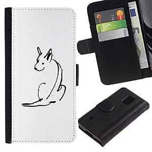 Billetera de Cuero Caso Titular de la tarjeta Carcasa Funda para Samsung Galaxy S5 V SM-G900 / Minimalist Pen Drawing Skull White / STRONG
