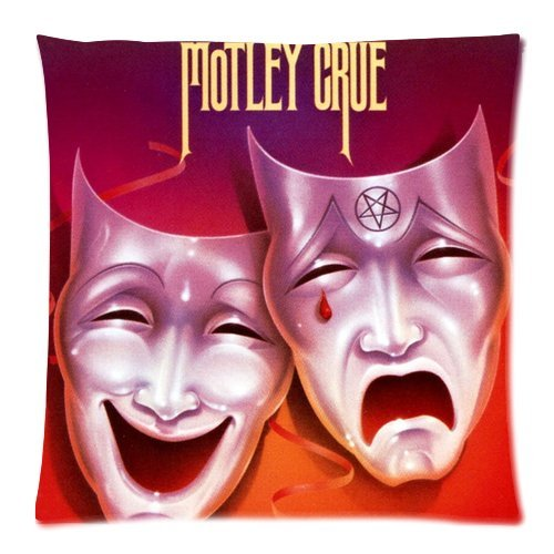 Price comparison product image Custom Cotton & Polyester Soft Square Zippered Cushion Throw Case Pillow Case Cover 18X18 (Twin Sides) - Pop America California Famous Rock Band Glam Metal Motley Crue Smiling Face Crying Face Mask Red Ribbon Dreamy Red And Purple Background Personalized Pillowcase
