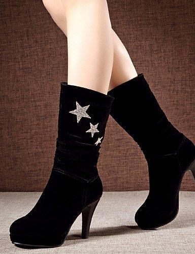 Zapatos Xzz Stiletto us5 De Eu36 White Cn35 White Cn39 5 Uk6 Tacón Negro Eu39 Uk3 Casual us8 Redonda 5 Mujer Botas Semicuero Punta dTpprIn5x