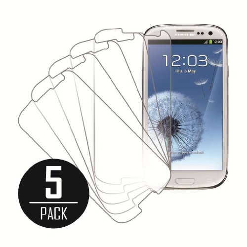 eTECH Collection 5 Pack of Crystal Clear Screen Protectors for Samsung Galaxy S3 / SIII /i9300 AT&T, T-Mobile, Sprint, - Phone Protector S3 Galaxy