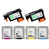 ESTON 2 PACK 940 Printhead Replacement for HP940 Print Head C4900A C4901A & 4 PACK (BK C M Y) HP940XL High Yield Ink Cartridge (Combo Pack)