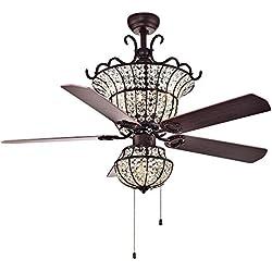 Fandian 52Inch Crystal Vintage Ceiling Light with Fan Chandelier Pendant Lamp, Retro Bronze Color