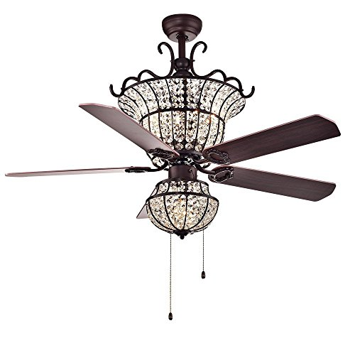 Fandian 52Inch Crystal Vintage Ceiling Light with Fan Chandelier Pendant Lamp, Retro Bronze Color