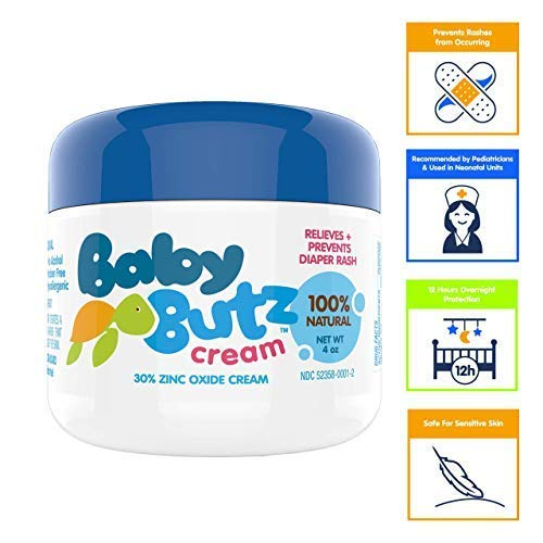 - Baby Butz Diaper Rash Cream (4.0 oz.) All Natural 30% Zinc Oxide Diaper Rash Butt Paste - Heals Diaper Rash Quickly & Safely - Hypoallergenic, Fragrance-Free, Great for Sensitive Skin