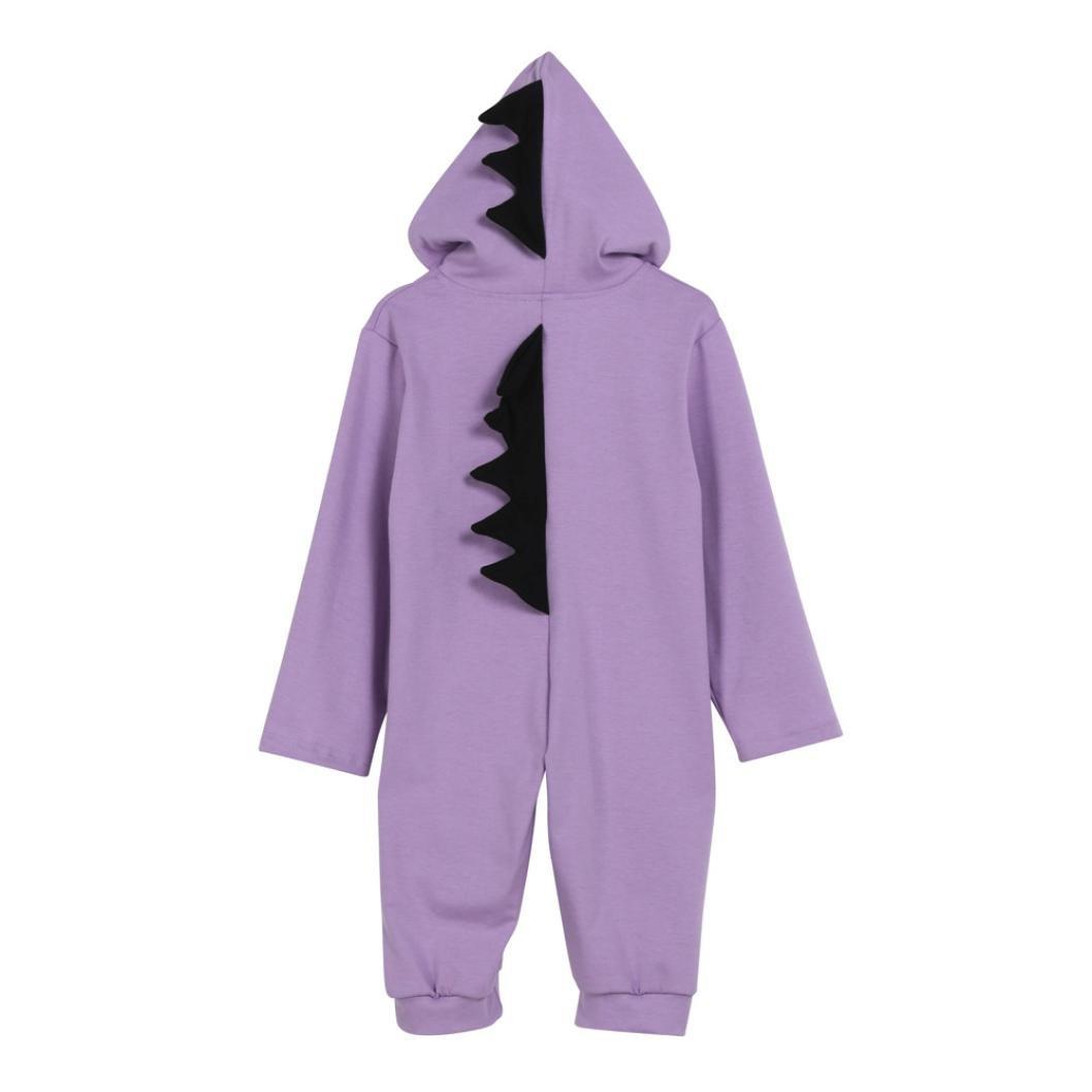Combinaison pilote Bébé Automne, Koly Combinaison pyjamas de neige en Coton à Capuche de Dinosaures Cartoon mignonne Barboteuse Manches Longues