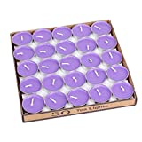 50 Pack Tea lights Candles - Unscented - Smokeless - Decoration for Wedding, Party, Dating and Festival Celebration (Purple)