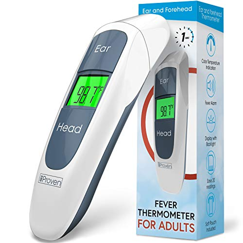 iProven Adult Medical Thermometer - Digital Thermometer for Fever - Temperature Measurements via Forehead and Ear - Pouch