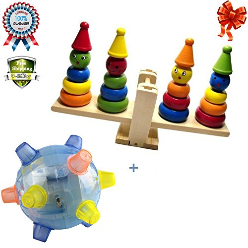 Wooden Clown Rainbow Stacker Seesaw Balance Scale Board Balancing Game for Kids, Early Education Learning Toys Dancing Singing Light-up Bouncing Ball Toy (Buy A Hoverboard)